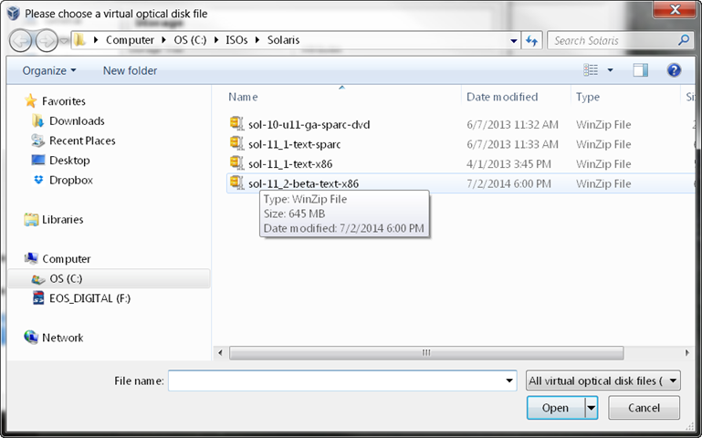 Installing Solaris x86 11 2 from an ISO in Virtualbox – Part