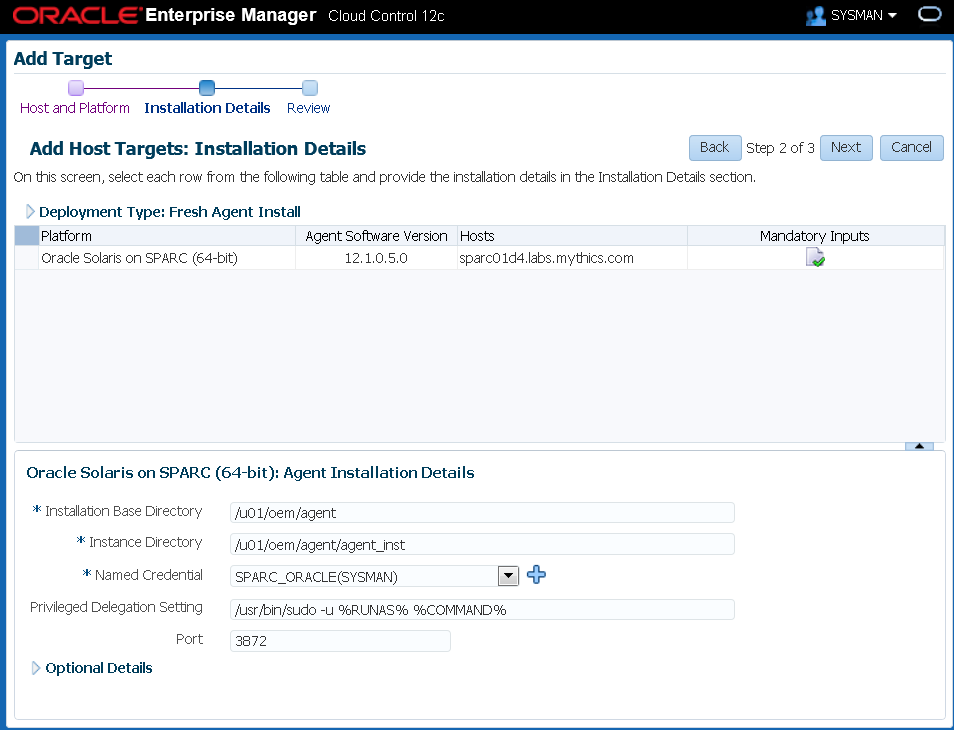 Deploying Oracle Enterprise Manager 12c agents on Solaris 11 X